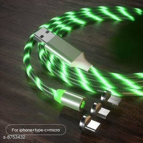 HBNS 360 Degree 2.1A Fast Magnetic LED Flowing Magnetic 3 in 1 Charging Cable Multi Charger Cord Streamer Quick Connect Magnetic Charging Cable Micro USB/Type-C/ 3in1 for Smartphone (Green)
