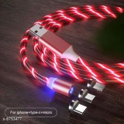 HBNS 360 Degree 2.1A Fast Magnetic LED Flowing Magnetic 3 in 1 Charging Cable Multi Charger Cord Streamer Quick Connect Magnetic Charging Cable Micro USB/Type-C/ 3in1 for Smartphone (Silver)