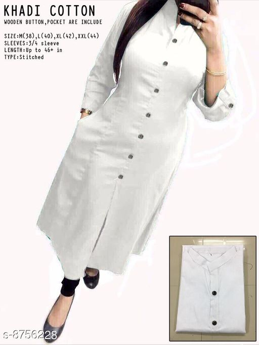 Women's Self-Design White Cotton Kurti
