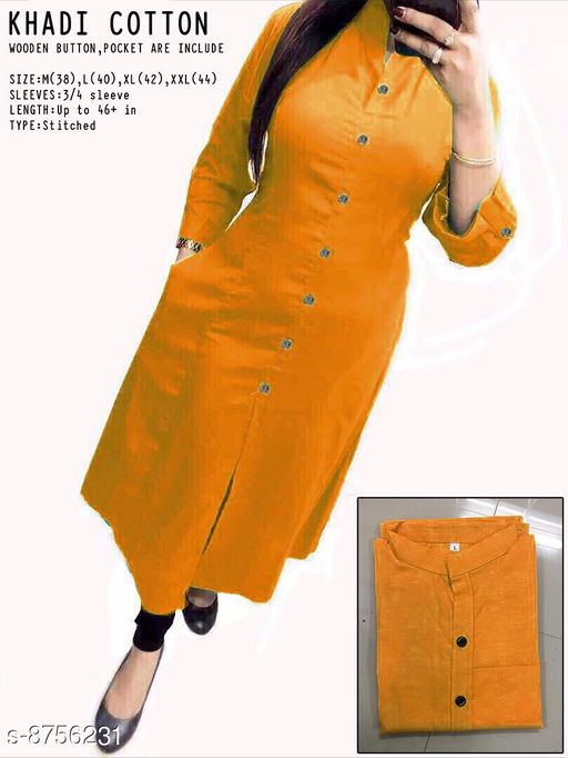 Women Cotton Straight Self-Design Yellow Kurti