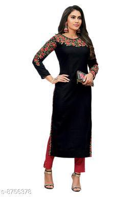 Women's Black Embroidered Rayon Kurti