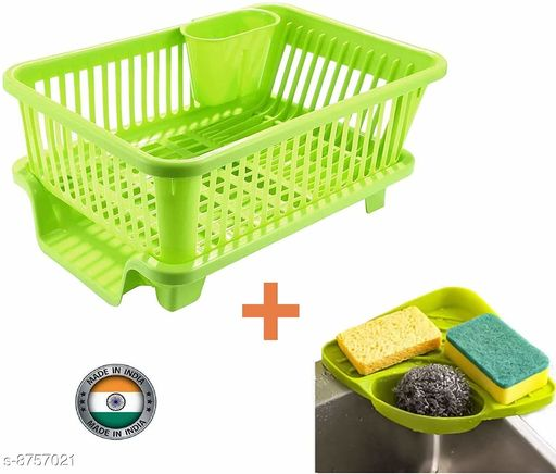 Frekich 3 in 1 Kitchen Sink Dish Rack Drainer Drying Rack Washing Basket with Tray for Kitchen, Dish Rack Organizers