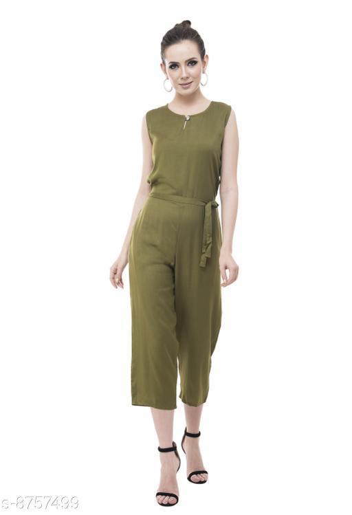 Mainsa Olive  Color Rayon Fabric Regular Wear Jump Suit