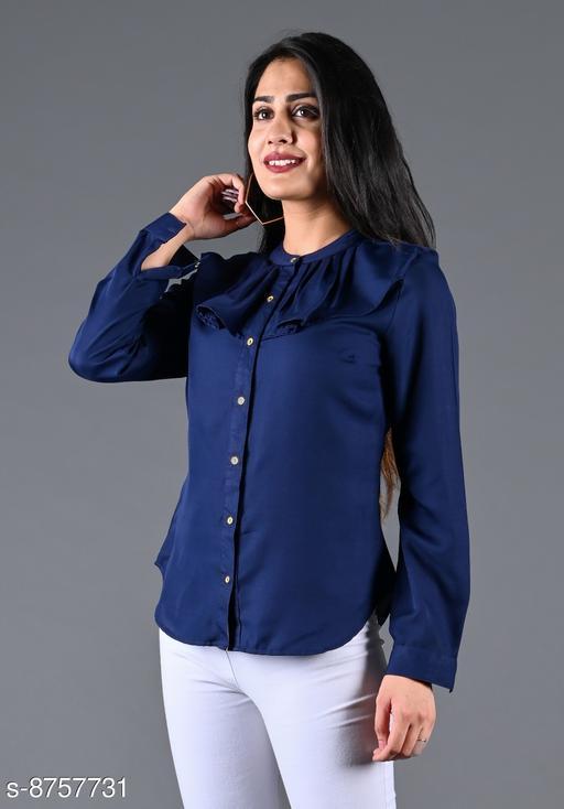 SAJKE Women Crepe Solid Western Shirt (Navy Blue)