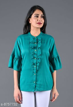 SAJKE Women Crepe Solid Western Shirt (Green)