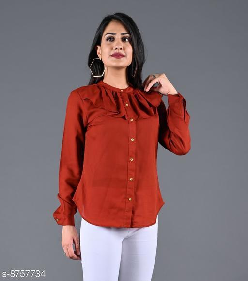 SAJKE Women Crepe Solid Western Shirt (Brown)