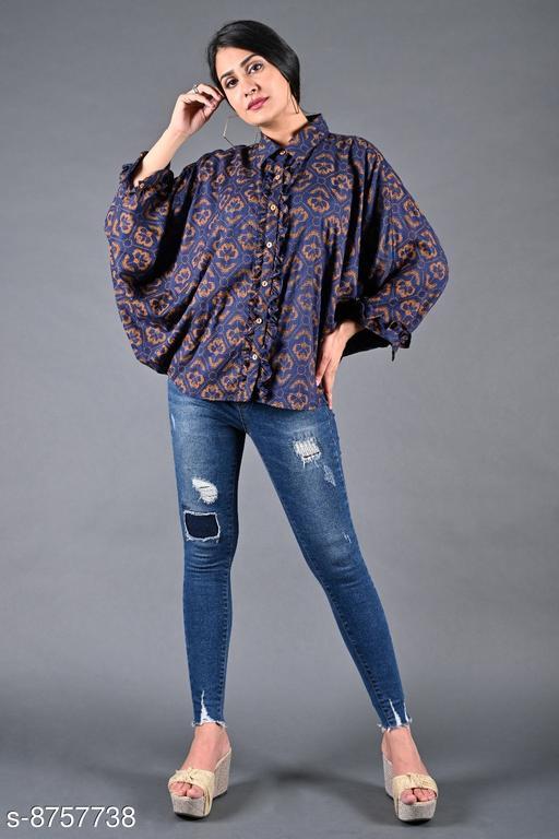 SAJKE Women Rayon Printed Western Batwing Shirt (Blue)