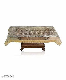 AP Home Decor Transparent 3D Diamond Design Center Table Cover 4 Seater 40 * 60 Inches (Golden Lace)