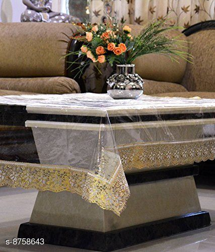 AP Home Decor Transparent Center Table Cover of 6 Seater Dining Table Cover Golden Lace (60 * 90 Inches)