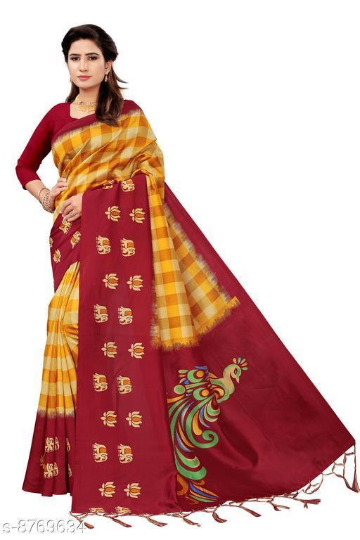 Sarees Jay Gopinath Fab Art Silk For Women's Beautiful Printed Art Silk Saree with Blouse Piece & fancy jhalar   *Saree Fabric* Art Silk  *Blouse* Running Blouse  *Blouse Fabric* Art Silk  *Pattern* Printed  *Blouse Pattern* Solid  *Multipack* Single  *Sizes*   *Free Size(Saree With Running Blouse Length Size* 6.3 m)  *Sizes Available* Free Size *    Catalog Name: Banita Attractive Sarees CatalogID_1498399 C74-SC1004 Code: 624-8769634-