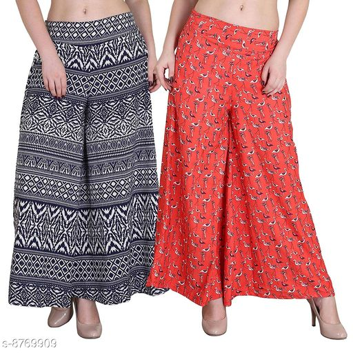 Women's/Girls Wide Leg Printed Crepe Palazzo/Trouser Combo Pack of 2