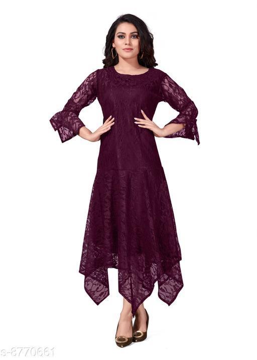 Nistha Fashion Women's Ankle Length Stylish Soft Net Dress