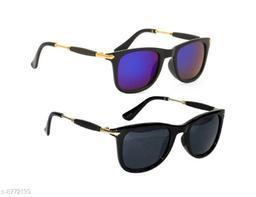 1UP Black/Blue Wayfarer Plastic Body Sunglass(LW320-BBLK)