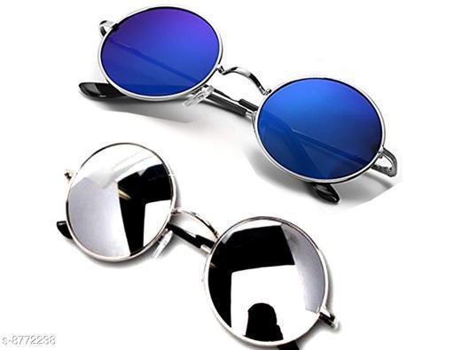 1UP Blue/Silver Round  Metal Body Sunglass
