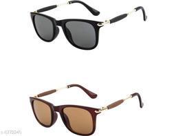 1UP Black/Brown Wayfarer Plastic Body Sunglass(SW303-BBRW)
