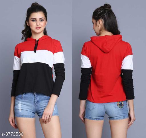 Trendy  Women Hodded Neck Red T-Shirt