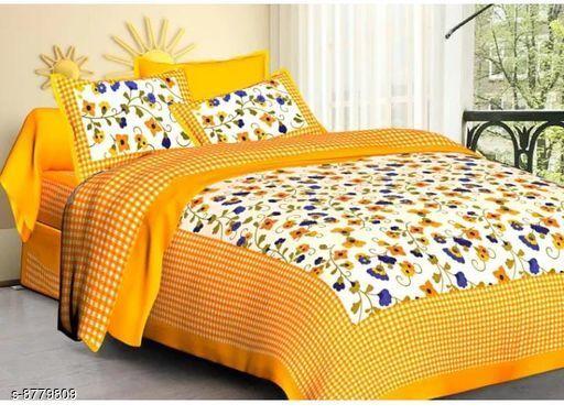 Dreamline Decor Jaipuri Printed Pure Coton 100x90 Double Bedsheets With 2 Pillow Cover