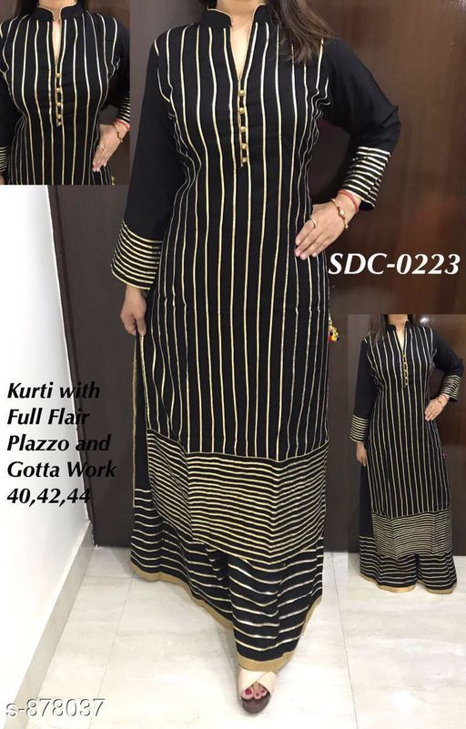 Kurtis & Kurtas Fancy Designer Party Wear Kurtis Set  *Fabric* kurti - Rayon , Palazzo - Rayon  *Sleeves* Full Sleeves are Included  *Size* Kurti - M - 40 in, L - 42 in, XL - 44 in, Palazzo- M - 32 in, L - 34 in, XL - 36 in  *Length* Kurti - Up To 46 in, Palazzo - Up To 38 in,  *Type* Stitched  *Description* It Has 1 Piece Of Kurti  And 1 Piece Of Palazzo  *Work* Kurti - Gota Patti Work , Palazzo - Gota Patti Work  *Sizes Available* M, L, XL, XXL *    Catalog Name: SDC Kurtis and Palazzo Set Vol 1 CatalogID_102271 C74-SC1001 Code: 9821-878037-