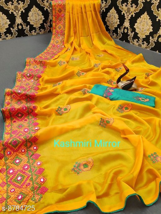 New Designer kasmiri mirror saree for women