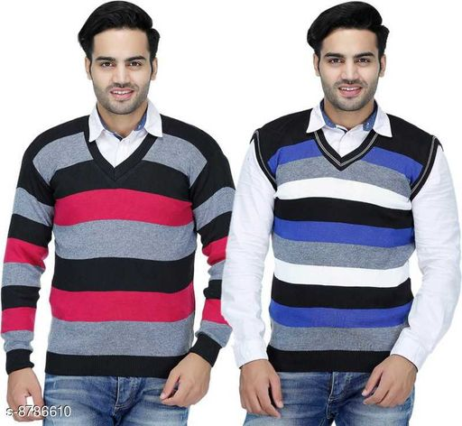 Blushh Collection Men's Striped Pattern V-Neck Sweater