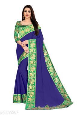 Anand Embellished Bollywood Chiffon Saree (Green, Blue)
