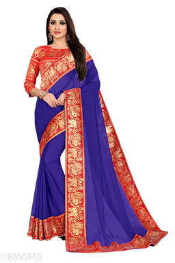 Anand Embellished Bollywood Chiffon Saree (Red, Blue)