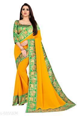 Anand Embellished Bollywood Chiffon Saree (Green, Yellow)
