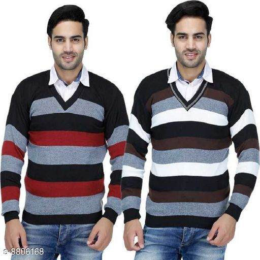 Blushh Collection Men's Winter Stiped Pattern Sweater Pack of 2