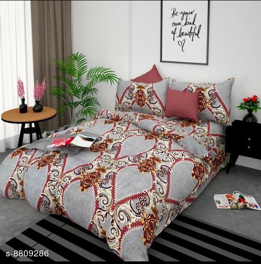 Colorful Classy 95 X 90 Polycotton Printed Double Bedsheet