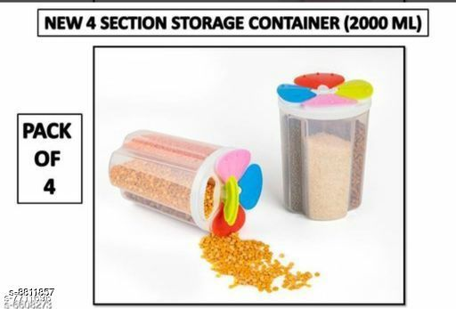 Jars & Container 4section4  *Material* Plastic  *Sizes Available* Free Size *    Catalog Name: Classy Jars & Container CatalogID_1508244 C130-SC1639 Code: 156-8811857-