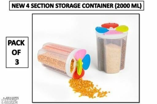 Jars & Container 4section3  *Material* Plastic  *Sizes Available* Free Size *    Catalog Name: Classy Jars & Container CatalogID_1508244 C130-SC1639 Code: 155-8811859-