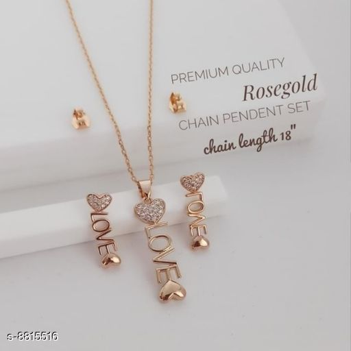 Necklaces & Chains Graceful Women Necklaces & Chains  *Base Metal* Gold  *Plating* Rose Gold Plated  *Stone Type* American Diamond  *Sizing* Adjustable  *Type* Necklace  *Multipack* 1  *Sizes* Free Size(Chain Length Size  *Description * It has one piece of necklace & one piece of earrings  *Sizes Available* Free Size *    Catalog Name: Graceful Women Necklaces & Chains CatalogID_1509093 C77-SC1092 Code: 093-8815516-