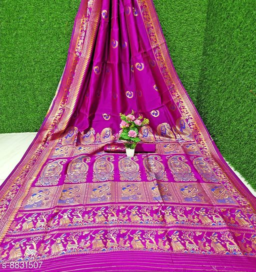 Palash Trendy Woven Tussar Silk Baluchari Style Saree