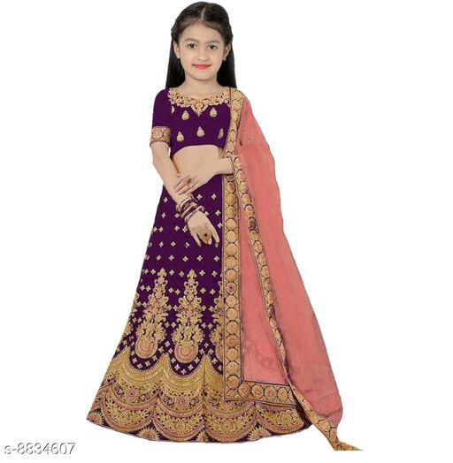 Lehenga Cholis Beatiful Kid's Lehenga Choli  *Lehenga Fabric* Satin  *Sizes*  10-11 Years  *Sizes Available* 10-11 Years *    Catalog Name: Princess Comfy Kids Girls Lehanga Cholis CatalogID_1513599 C61-SC1137 Code: 318-8834607-