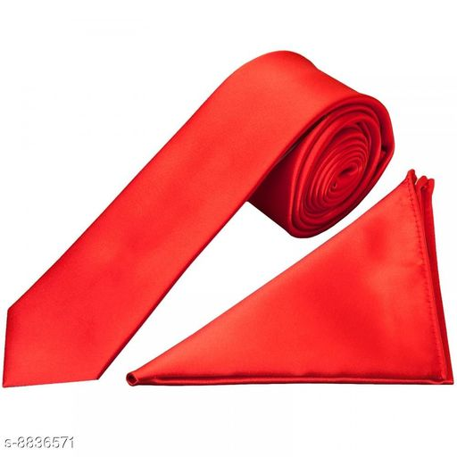 Osking Red Plain Tie Set with Box
