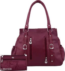 WOMEN STYLISH SHOULDER BAG WITH POUCH MAROON