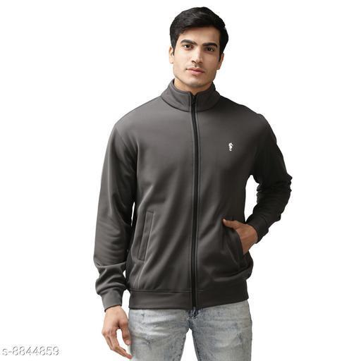 EPPE Men's Full Sleeve Grey Bonded Fleece Blend Zipper Jacket