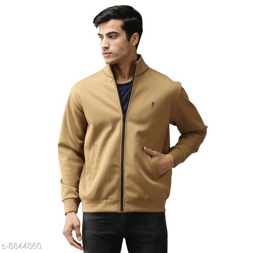 EPPE Men's Full Sleeve Beige Bonded Fleece Blend Zipper Jacket