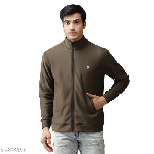 EPPE Men's Full Sleeve Olive Green Bonded Fleece Blend Zipper Jacket