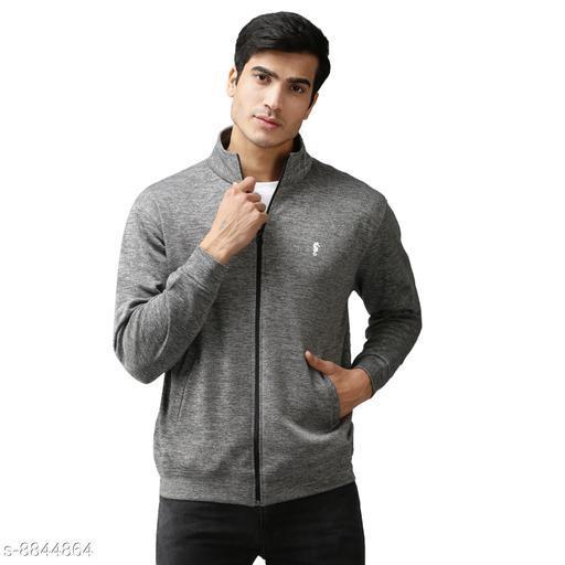 EPPE Men's Full Sleeve Grey Melange Bonded Fleece Blend Zipper Jacket
