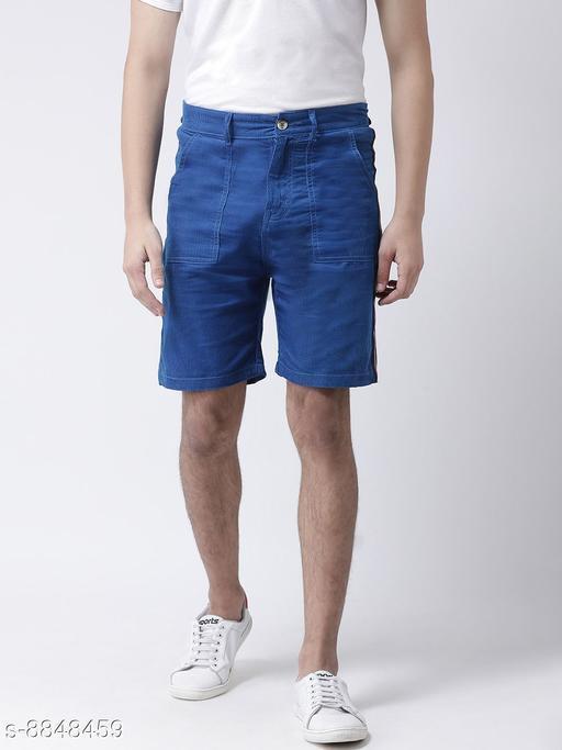 Realm Men Blue Regular Fit front patchup pocket Shorts