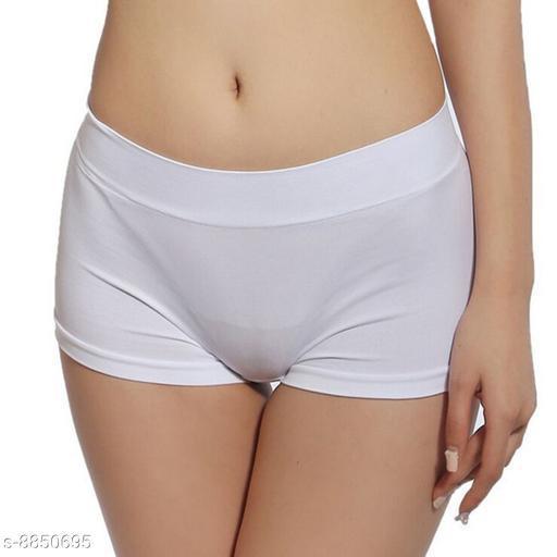 Women Boy Shorts White Cotton Blend Panty