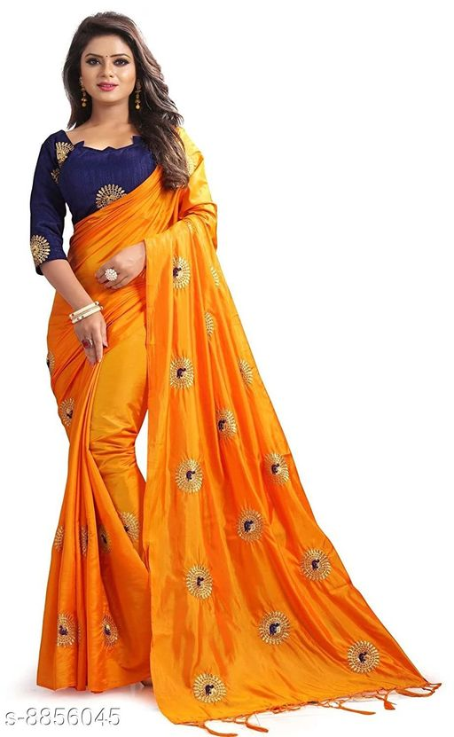 Sarees Coment Enterprise Women's Paper Silk Saree With Blouse Piece For Wedding   *Saree Fabric* Paper Silk  *Blouse* Separate Blouse Piece  *Blouse Fabric* Dupion Silk  *Pattern* Embroidered  *Blouse Pattern* Embroidered  *Multipack* Single  *Sizes*   *Free Size (Saree Length Size* 5.5 m, Blouse Length Size  *Sizes Available* Free Size *    Catalog Name: Aagyeyi Sensational Sarees CatalogID_1518613 C74-SC1004 Code: 628-8856045-