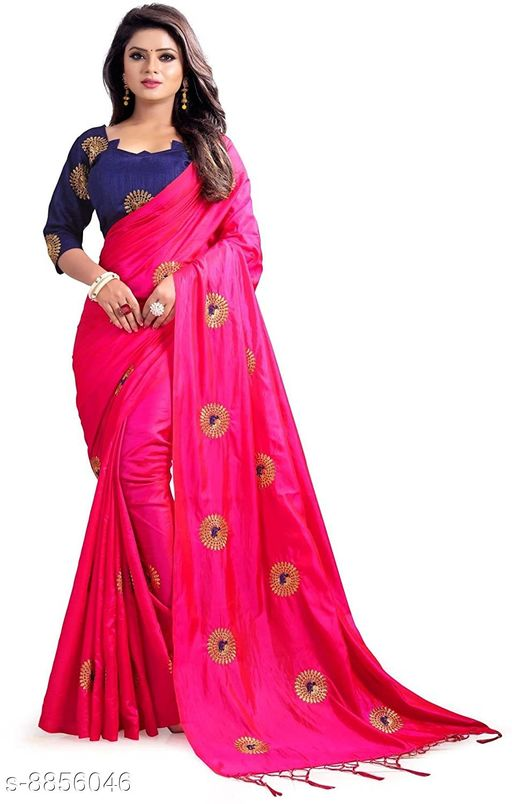 Sarees Coment Enterprise Women's Paper Silk Saree With Blouse Piece For Wedding   *Saree Fabric* Paper Silk  *Blouse* Separate Blouse Piece  *Blouse Fabric* Dupion Silk  *Pattern* Embroidered  *Blouse Pattern* Embroidered  *Multipack* Single  *Sizes*   *Free Size (Saree Length Size* 5.5 m, Blouse Length Size  *Sizes Available* Free Size *    Catalog Name: Aagyeyi Sensational Sarees CatalogID_1518613 C74-SC1004 Code: 628-8856046-