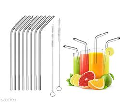 Reusable Stainless Steel Drinking Straws Combo Bent (8 Bent Straws, 2 brush)