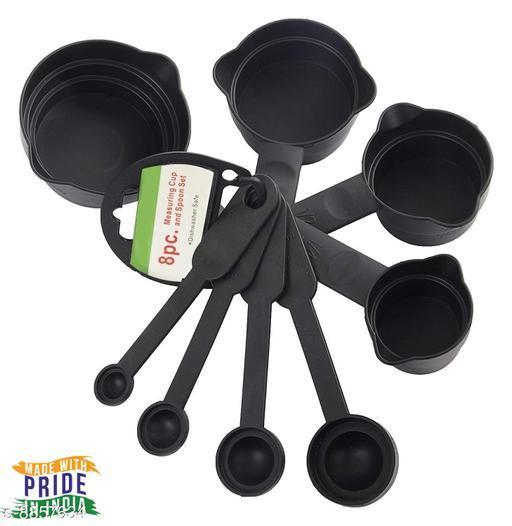 KPCOM 8 Pieces Plastic Baking Measurement Set 4 Measuring Cups and 4 Spoons with Double Pour Sides.