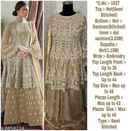 Miss Ethnik Women's Cream Net Semi Stitched Top With Stitched Net Bottom and Net Dupatta Embroidered Flared Top Dress Material (Pakistani Suits) (1027-Cream)
