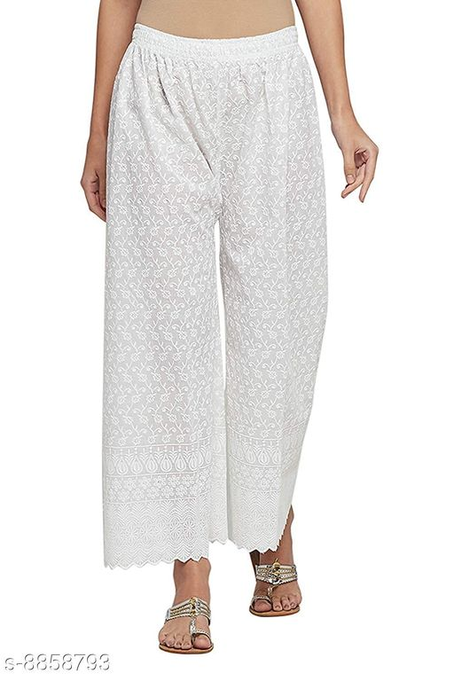 Unity Women's Free Size Pure Cotton Full Lucknow Chikan Embroidered Palazzo (White) (28 to 38 Waist Size)