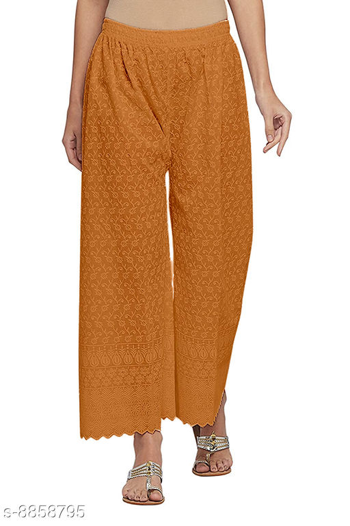 Unity Women's Free Size Pure Cotton Full Lucknow Chikan Embroidered Palazzo (Orange) (28 to 38 Waist Size)