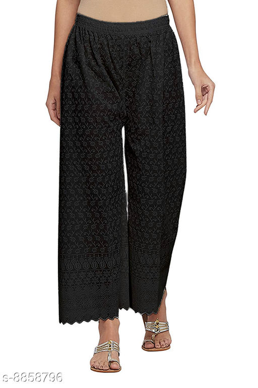 Unity Women's Free Size Pure Cotton Full Lucknow Chikan Embroidered Palazzo (Black) (28 to 38 Waist Size)